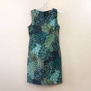 Teal green peacock feather paisley dress connected